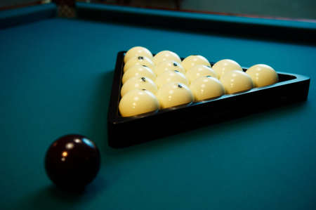 pool halls: Billiard spheres on a green billiard table