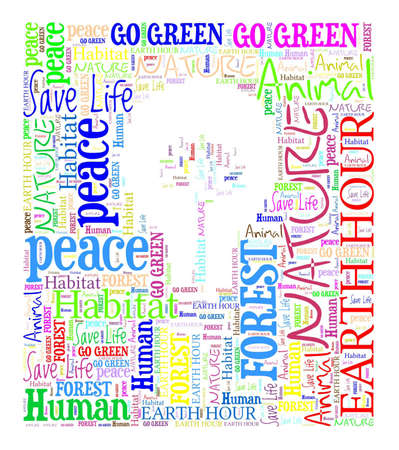 bulp: Go Green   Save our Planet - text graphic and arrangement composed in Bulp and small tree inside shape concept on white background word cloud Stock Photo