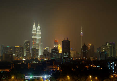 Night View of Kuala Lumpur, Malaysia  Petronas Twin Tower and other skyscraper located around Kuala Lumpur City