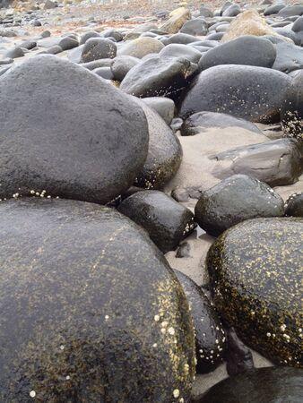 Rocks of Hampton beach on a rainy day