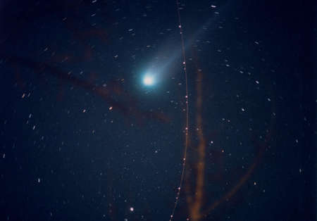 This is a time exposure shot of Comet Hyakutake taken in 1996 photo