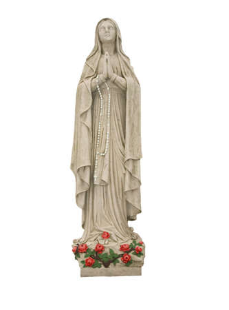 This is a statue of Mother Mary with some coloring applied.