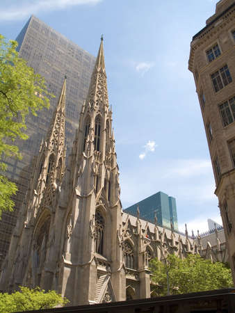 archtecture: This is a shot of St. Patricks Cathedral in the Summertime.