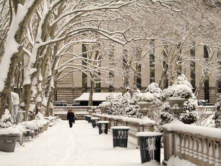 bryant park: This is a shot of Bryant Park In Manhattan during a snow storm.