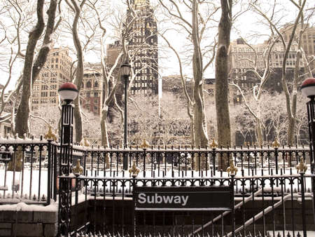 This is a snowy shot of the Bryant Park subway station. Stock Photo - 409894