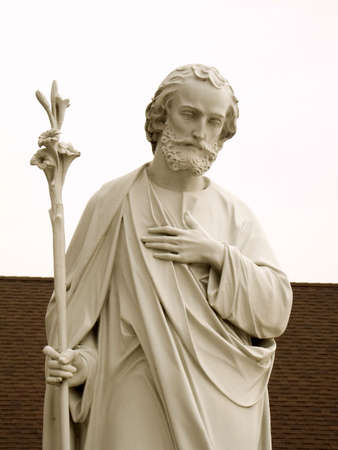 A close-up of a statue of St. Joseph.