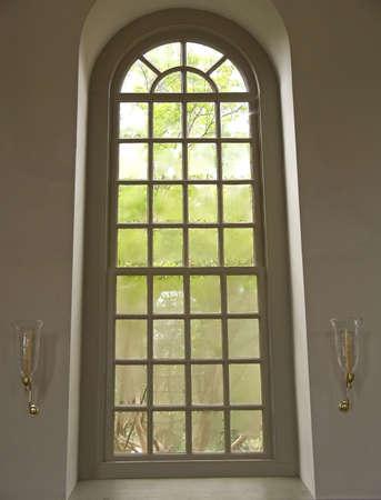 church window: A tall church window.