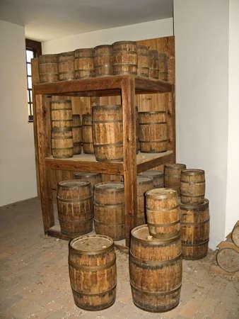 kegs: A roomful of wooden kegs.