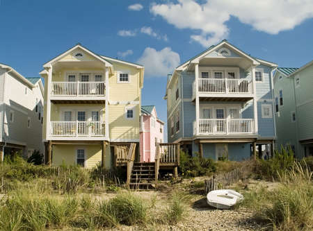 town homes: A group of modern colorful town homes on a New Jersey beach. Stock Photo