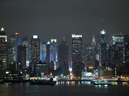 A current night time view of the changing New York City skyline. Stock Photo