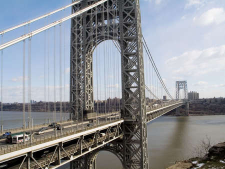 cable bridge: A wide view of the George Washington Bridge between New Jersey and New York city.