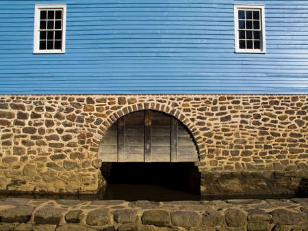 grist mill: A colorful shot of an old grist mill wall located in  Upper freehold, NJ.