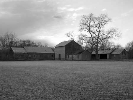 farm structures: A black and white photo of old farm structures in Holmdel, New Jersey.