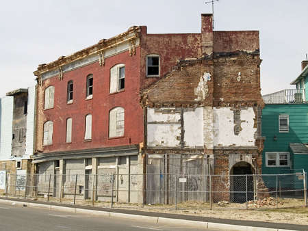 condemned: A row of some condemned buildings in Asbury Park New Jersey. Stock Photo
