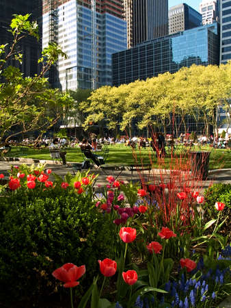 bryant: People enjoying a beautiful Spring day in Bryant Park in Manhattan.
