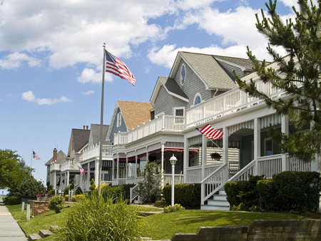 A neighborhood of victorian style homes near the Jersey shore.