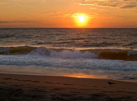 A dramatic sunrise over the Atlantic in Ocean City, Maryland. Stock Photo