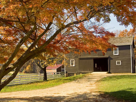 An Autumn scene of and old barn on a historic farm in Holmdel, New Jersey. photo