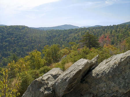 A wide angle scenic view of the mountains along Skyline Drive in Shenandoah National park in West Virginia. photo
