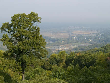Morning haze over the valley and the scenic view of Shenandoah National Park in West Virginia. photo