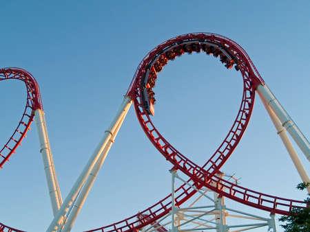 theme park: A modern roller coaster in a theme park.
