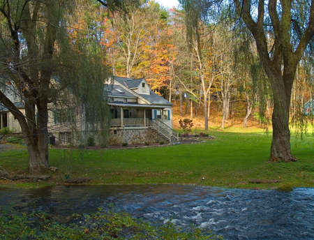 A secluded country home near a beautiful stream in the Pocono Mountains of Pennsylvania. Stock Photo - 2607283