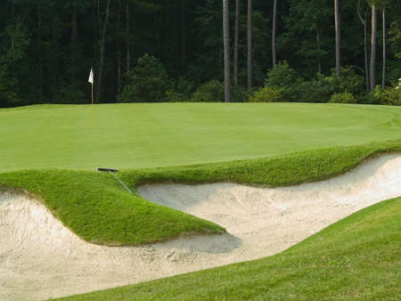 A sand trap on this beautiful Myrtle Beach, South Carolina golf course. Imagens