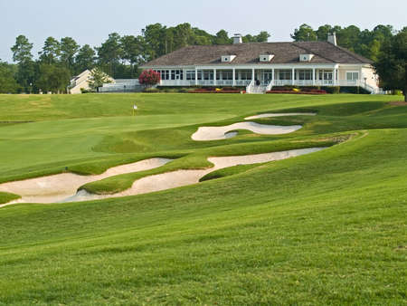 A view over the sand traps towards the TPC Myrtle Beach golf course clubhouse