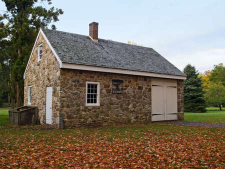 blacksmith shop: A historical blacksmith shop is just one of the historical buildings in Washington Crossing State Park in Bucks County, Pa. Stock Photo
