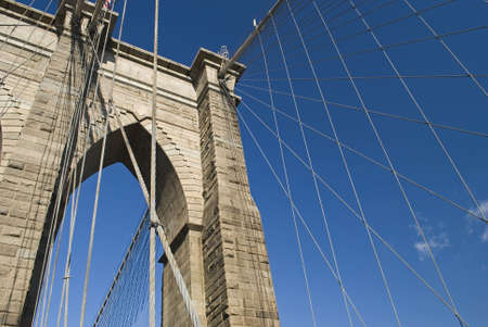 The Brooklyn Bridge columns and cables form an interesting composition photo