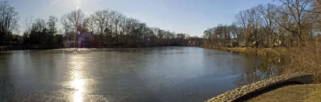 middlesex: A Winter panoramic view of Milton Lake, located in Middlesex County Stock Photo