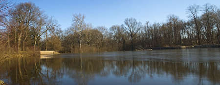 middlesex: A Winter panoramic view of Milton Lake Park, located in Middlesex County