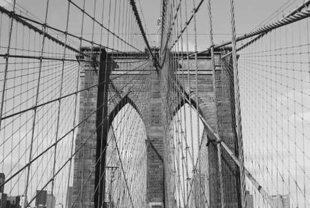 A close-up view of the detail and cable supports of the Brooklyn Bridge. Stock Photo - 4493163