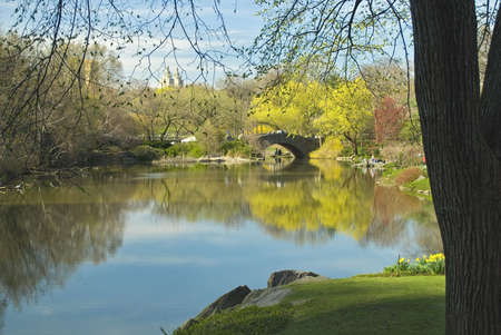 A Spring view of the lake in Central Park. Stock Photo