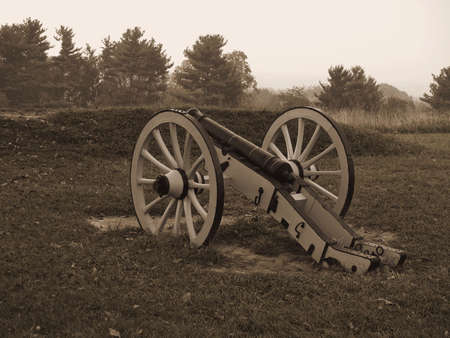 forge: A sepia toned photo of a historic revolutionary war cannon on display at Valley Forge National Historic Park.