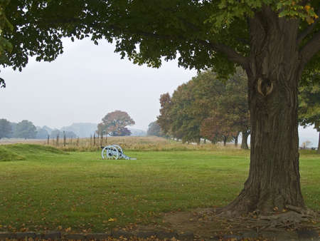 forge: An early morning hazy view of Valley Forge National Historic Park in Pennsylvania. Stock Photo