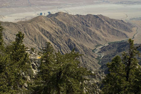 accessed: The spectacular view from San Jacinto State Park, accessed by the famous tram ride near Palm Springs, California.  Stock Photo