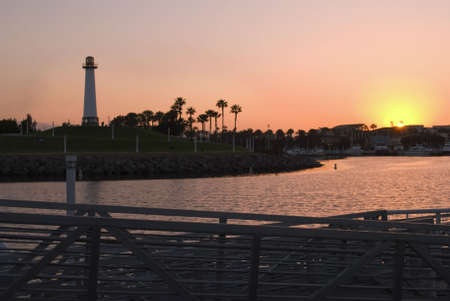 A sunset view of the Long Beach Harbor lighthouse.