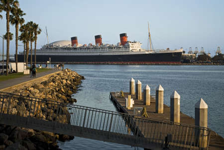 The Queen Mary where it is docked in Long Beach California.