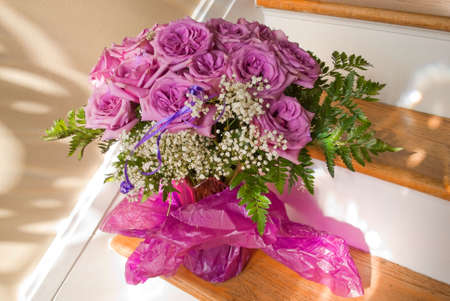 A bouquet of unusual purple roses in a vase. Stock fotó - 6145161