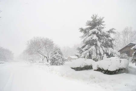 This Central New Jersey neighborhood during a heavy 2010 snowfall. Stock Photo - 6511977