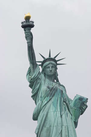 A  close-up view of the Statue of Liberty in New York Harbor.