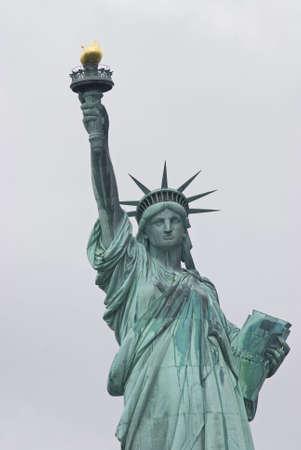 뉴욕 항구에서 자유의여 신상의 근접 촬영보기. 스톡 콘텐츠