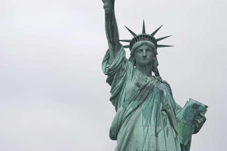 A  close-up view of the Statue of Liberty in New York Harbor. photo