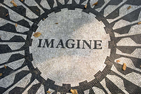 The Imagine mosaic located in Strawberry Fields, Central Park in Manhattan. Stock Photo