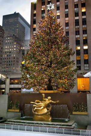 MANHATTAN - DECEMBER 3:  The Rockefeller Center Christmas tree as seen fully lit on December 3, 2010 in New York City.