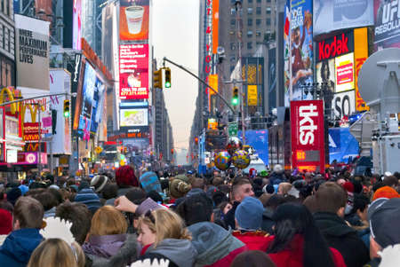 TIMES SQUARE - DECEMBER 31:  Huge crowds form in Times Square In Manhattan for New Years Eve on December 31, 2010 in Times Square, New York City. Stock Photo - 8525842
