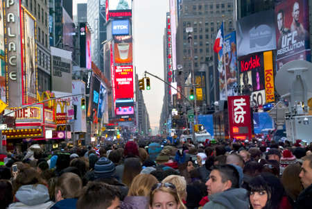 TIMES SQUARE - DECEMBER 31:  Huge crowds form in Times Square In Manhattan for New Years Eve on December 31, 2010 in Times Square, New York City. Stock Photo - 8525847