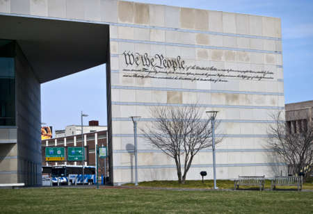 PHILADELPHIA - MARCH 11: The preamble to the constitution on the wall of The Constitution Center in Philadelpha on March 11, 2011. Sajtókép
