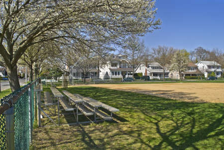 baseball field: A sunny Spring view of a rural neighborhood baseball field in Spring Lake, New Jersey.